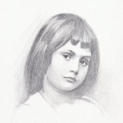 Portrait d'Alice Alice Liddell d'après le portrait photographique de Lewis Carroll